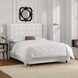 Skyline Furniture Nailhead Trim Button Tufted White Velvet Wingback Bed