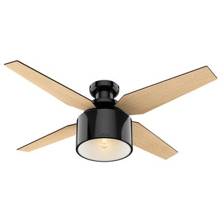 """Hunter 52"""" Cranbrook Low Profile Ceiling Fan with LED Light Kit and Handheld Remote - Gloss Black"""