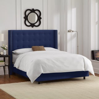Skyline Furniture Nailhead Trim Button Tufted Navy Velvet Wingback Bed