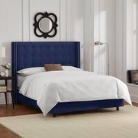 Skyline Furniture Nailhead Trim Button Tufted Navy Velvet Wingback Bed
