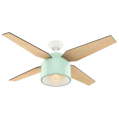 "Hunter 52"" Cranbrook Ceiling Fan with LED Light Kit and Handheld Remote - Mint"