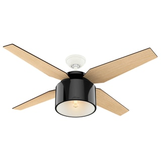 """Hunter 52"""" Cranbrook Ceiling Fan with LED Light Kit and Handheld Remote - Gloss Black"""