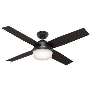 """Hunter 52"""" Dempsey Outdoor Ceiling Fan with LED Light Kit and Handheld Remote, Damp Rated - Matte Black"""