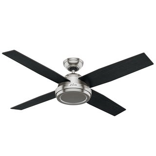 Hunter Fan Dempsey Collection Brushed Nickel 52-inch ceiling Fan with 4 Reversible Black Oak/Chocolate Oak Blades