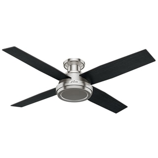 flush mount ceiling fan brushed nickel. Brilliant Mount Hunter Fan Dempsey Collection 52inch Low Profile Brushed Nickel Ceiling  With 4 Black Throughout Flush Mount