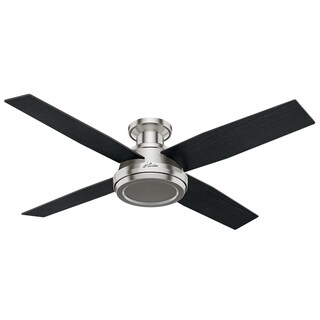 Hunter Fan Dempsey Collection 52-inch Low Profile Brushed Nickel Ceiling Fan with 4 Black/Chocolate Oak Reversible Blades