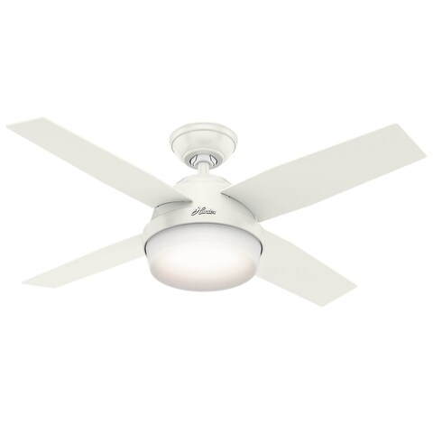 Hunter Fan Dempsey Collection Fresh White/Blonde Oak 44-inch 4 Reversible Blades Ceiling Fan