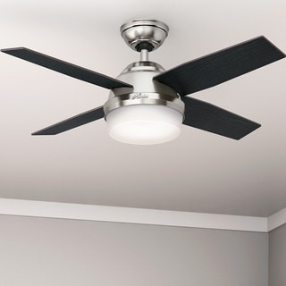 Hunter Fan Dempsey Collection Brushed Nickel 44-inch Ceiling Fan with 4 Reversible Black Oak/Chocolate Oak Blades