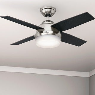 Hunter Fan Dempsey Collection Brushed Nickel 44-inch Ceiling Fan with 4 Reversible Black Oak/Chocolate Oak Blades - Silver