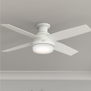 """Hunter 52"""" Dempsey Low Profile Ceiling Fan with LED Light Kit and Handheld Remote - Fresh White"""