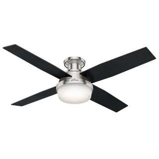Hunter Fan Dempsey Collection Brushed Nickel Metal and Glass 52-inch Low-profile Ceiling Fan with 4 Reversible Blades