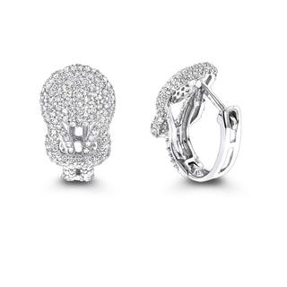 Luxurman 14k Gold Diamond 3/4ct TDW Love Knot Hoop Earrings
