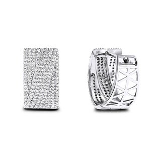 Luxurman 14k White Gold 3/4ct TDW Pave Diamond Earrings (H-I, SI1-SI2)