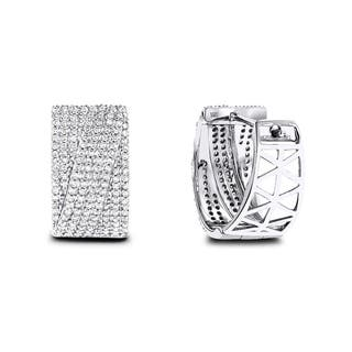 Luxurman 14k White Gold 3/4ct TDW Pave Diamond Earrings