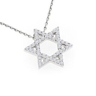 Luxurman 14k Gold 1/2ct TDW Diamond Star of David Pendant (H-I, SI1-SI2)