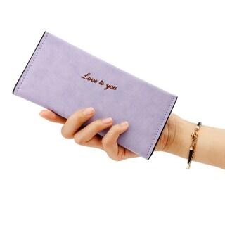 Gearonic Fashion Women Faux Leather Long Flip Wallet Clutch (Option: Lavender)