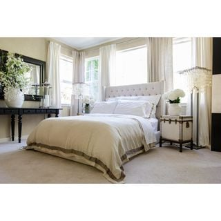 Elements Fine Home Furnishings Gramercy Seashell Beige Linen Panel Bed