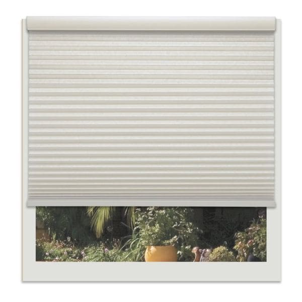 Linen Avenue Custom Seashell Off-white 18- to 19-inch Wide Cordless Light-filtering Cellular Window Shade. Opens flyout.