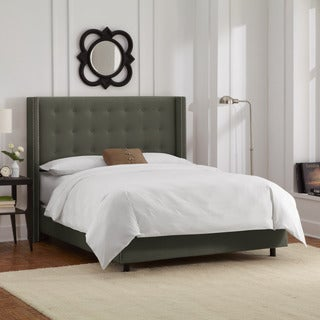 Skyline Furniture Button Tufted Wingback Bed with Nails in Velvet Pewter