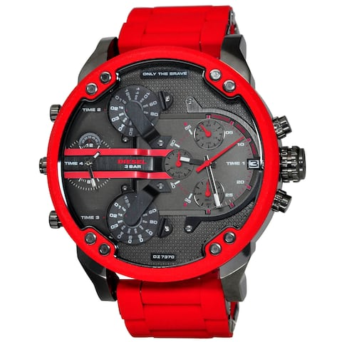 Diesel Men's DZ7370 'Mr. Daddy 2.0' Chronograph 4 Time Zones Red Stainless steel and Silicone Watch
