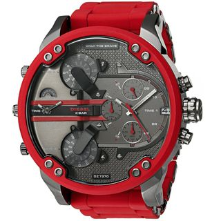 Diesel Men's 'Mr. Daddy 2.0' Chronograph 4 Time Zones Red Stainless steel and Silicone Watch