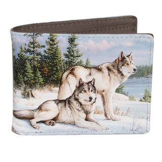 Buxton Wildlife Watchful Pause Wolves Slimfold Wallet