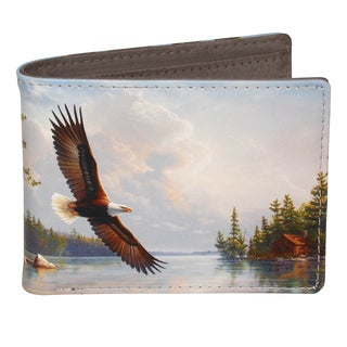 Buxton Wildlife Summertime Eagle Grey Faux Leather Slimfold Wallet
