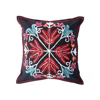 Kashmir Crewel Pillow - Black (India)