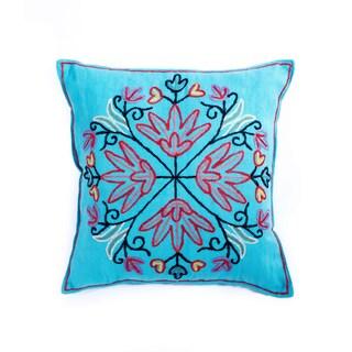 Kashmir Crewel Pillow - Turquoise (India)
