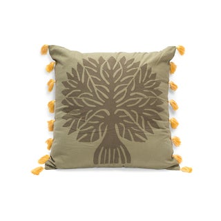 Banyan Applique Pillow - Peaceful Forest Green (India)