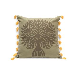 Handmade Banyan Applique Pillow - Peaceful Forest Green (India)
