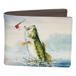 Buxton Wildlife Lure Bass Grey Faux Leather Slimfold Wallet