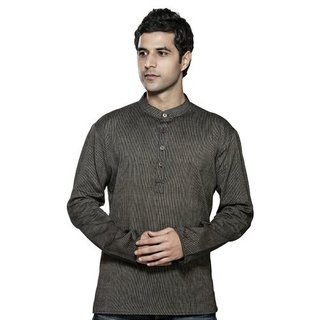 In-Sattva Shatranj Men's Short Kurta Tunic Banded Collar Fine Stripe Shirt (India)
