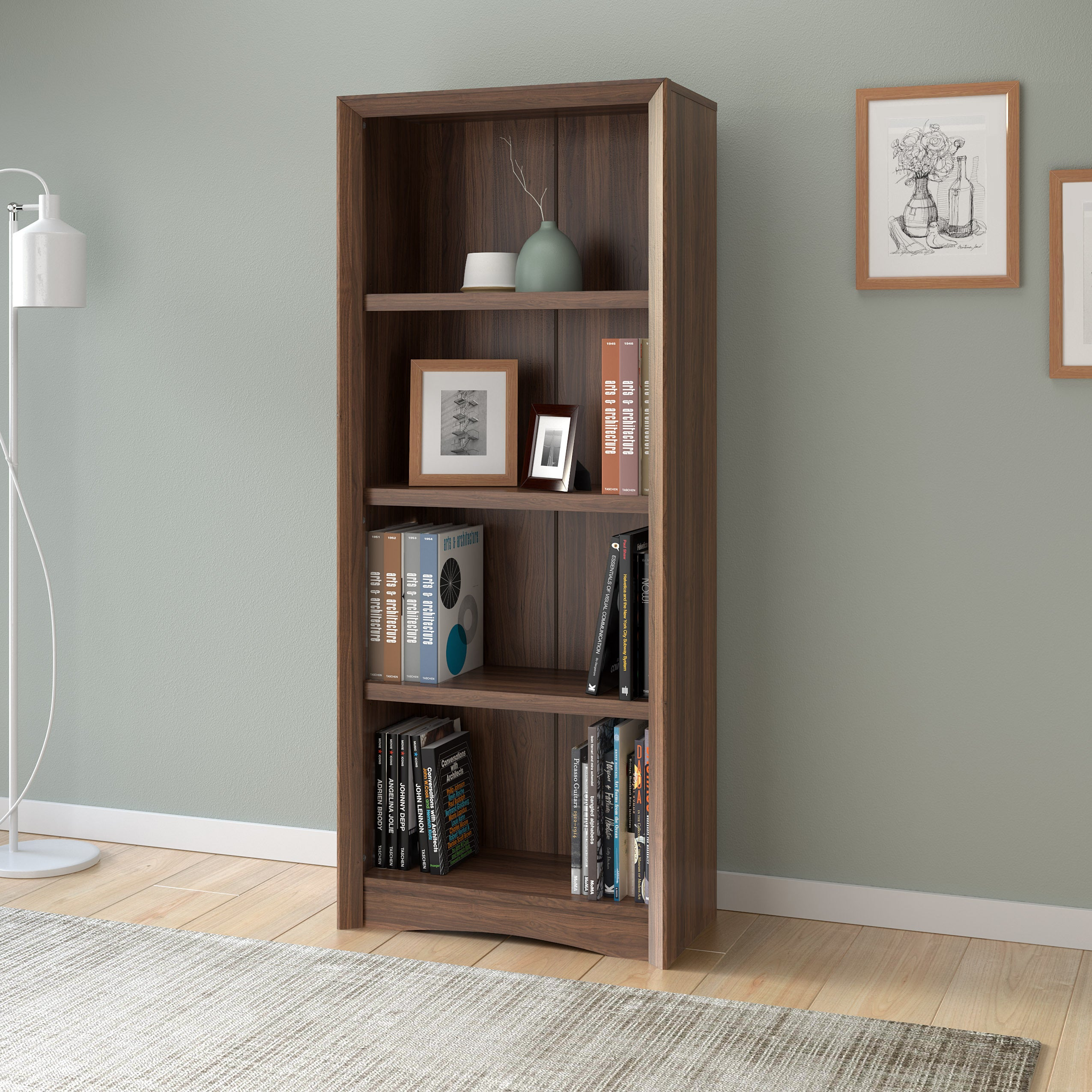 Carbon Loft Horace 59 Inch Tall Adjustable Bookcase With Faux Woodgrain Finish