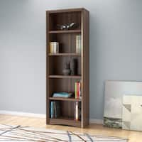 Quadra 71-inch Tall Adjustable Bookcase with Faux Woodgrain Finish