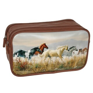 Buxton Wildlife Thunder Horses Brown Faux Leather Double Zip Travel Kit