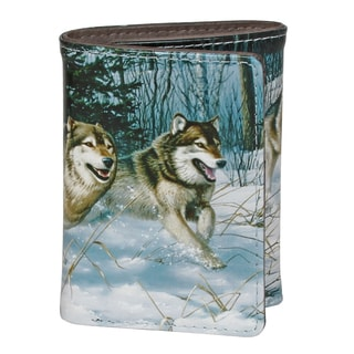 Buxton Wildlife Running Wild Wolves Grey Faux Leather Tri-fold Wallet