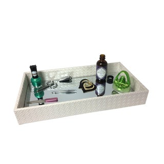 Home Basics Decorative Leather Bath Vanity Tray with Mirror