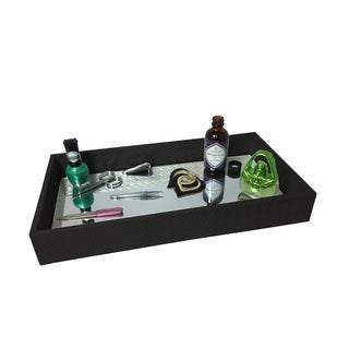 Home Basics Decorative Leather Bath Vanity Tray with Mirror