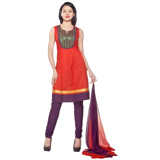 Handmade In-Sattva Women's 3-Piece Ensemble With Mirror-work Yoke (India) (2 options available)
