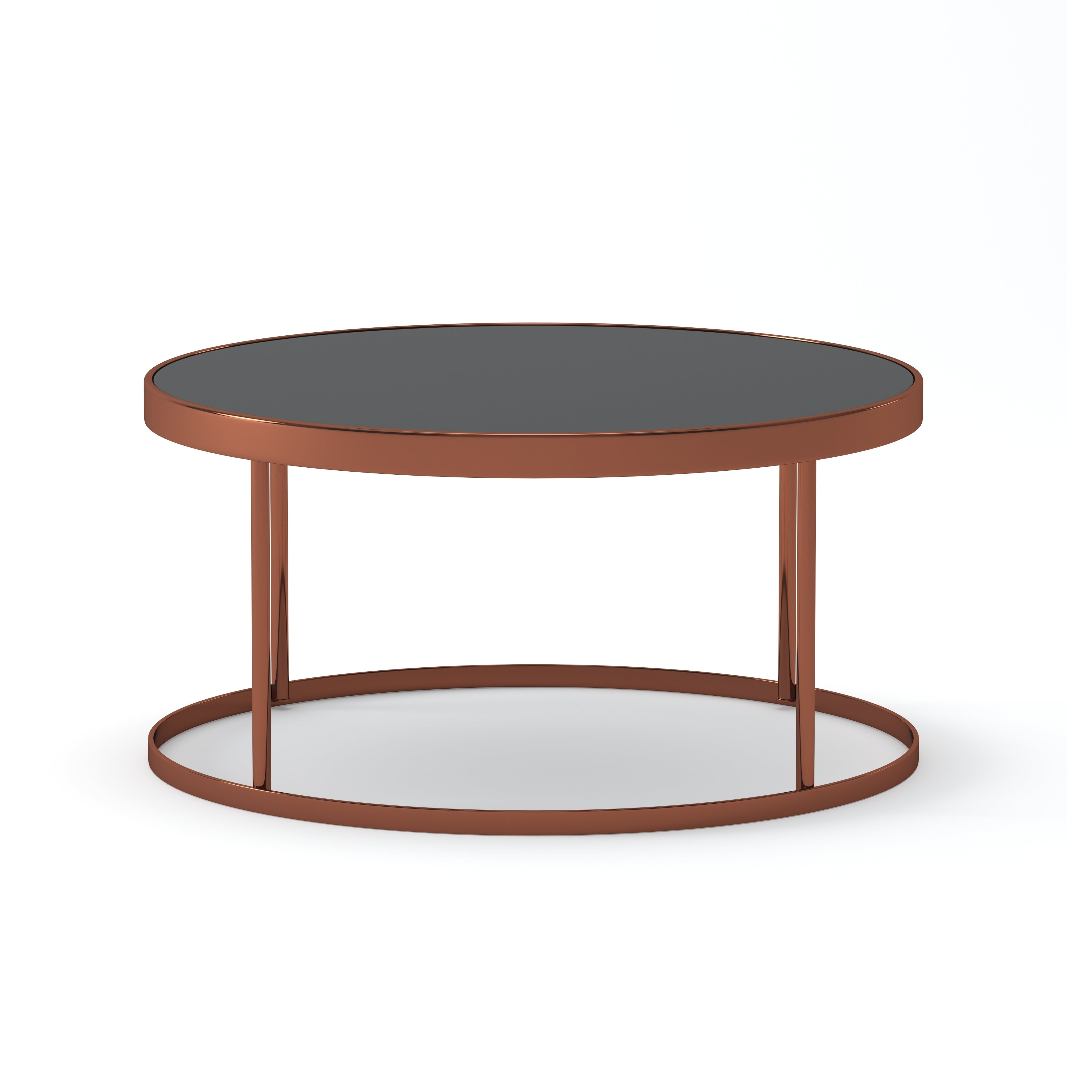 Furniture Of America Rosina Contemporary Rose Gold Black Mirrored Round Coffee Table