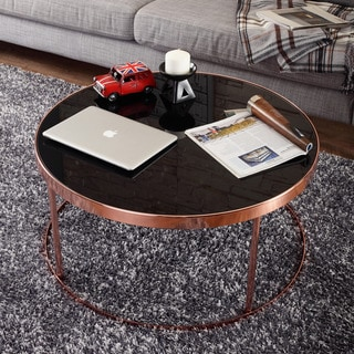 Furniture of America Rosina Contemporary Rose Gold/ Black Mirrored Round Coffee Table
