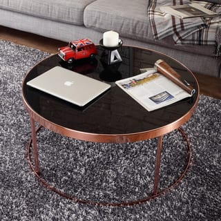 Acme Furniture Alivia Rose Gold Metal And Glass Accent