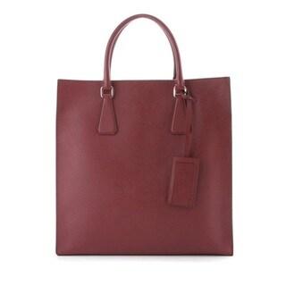 Prada Red Saffiano Travel Tote Bag