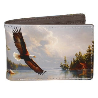 Buxton Wildlife Summertime Eagle Grey Faux Leather Front Pocket Slimfold Wallet