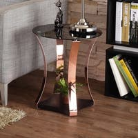 Furniture of America Rosella Contemporary Rose Gold and Black Mirrored Round End Table