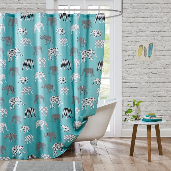 HipStyle Henry Aqua 100% Cotton Shower Curtain