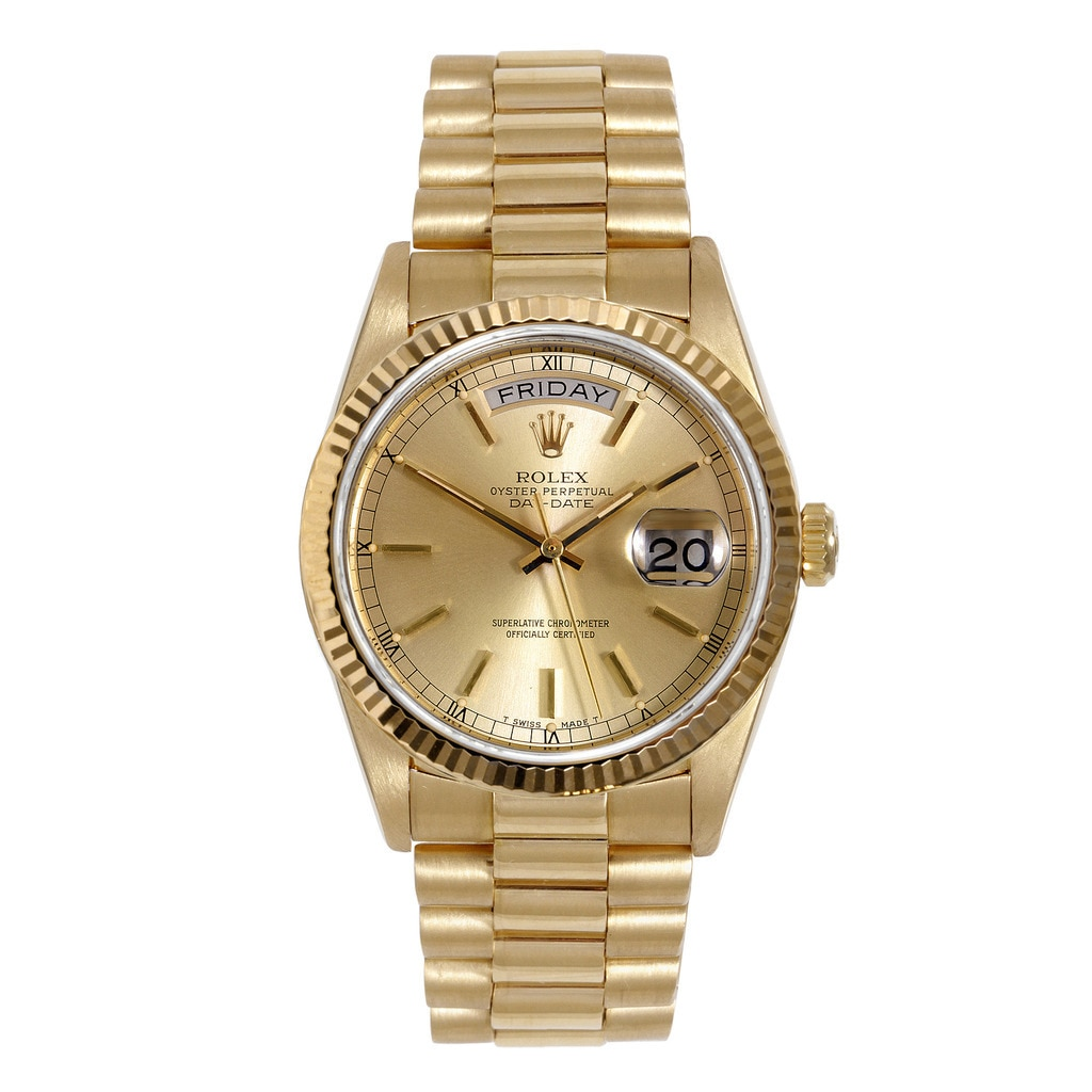 Rolex Solid 18k Yellow Gold Day Date President Linen Diam...
