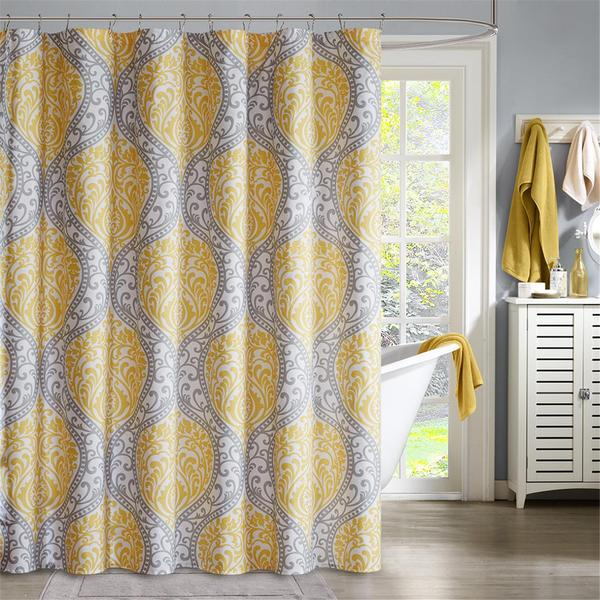 Intelligent Design Lilly Yellow Microfiber Printed Shower Curtain