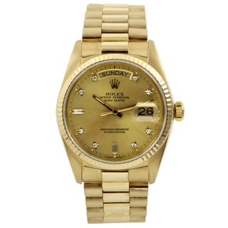 Pre-Owned Rolex Champagne 8+2 Diamond Dial and Fluted Bezel Men's President Watch